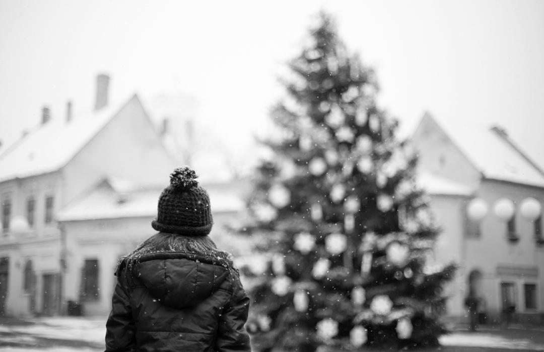 Szentendre, Fő tér, kislány, havazás, fenyőfát nézi, fenyőfa, tél